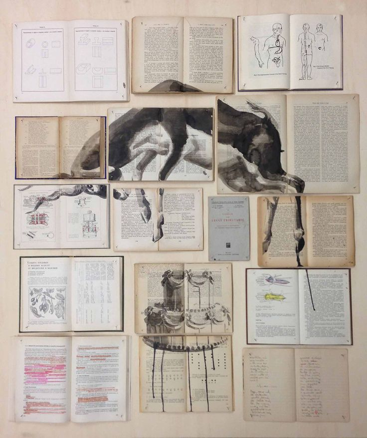 Fragmented Ink Paintings on Arrays of Vintage Books by Ekaterina Panikanova #art #painting