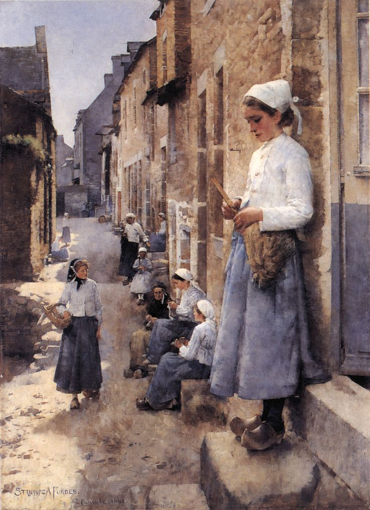 Stanhope Forbes - A Street in Brittany, 1881