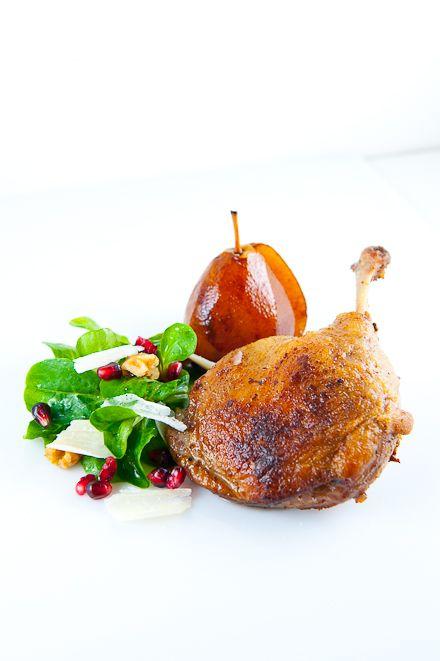 Duck Confit Sous-Vide with Pomegranate Poached Pear & Mache Salad | Zen Can Cook