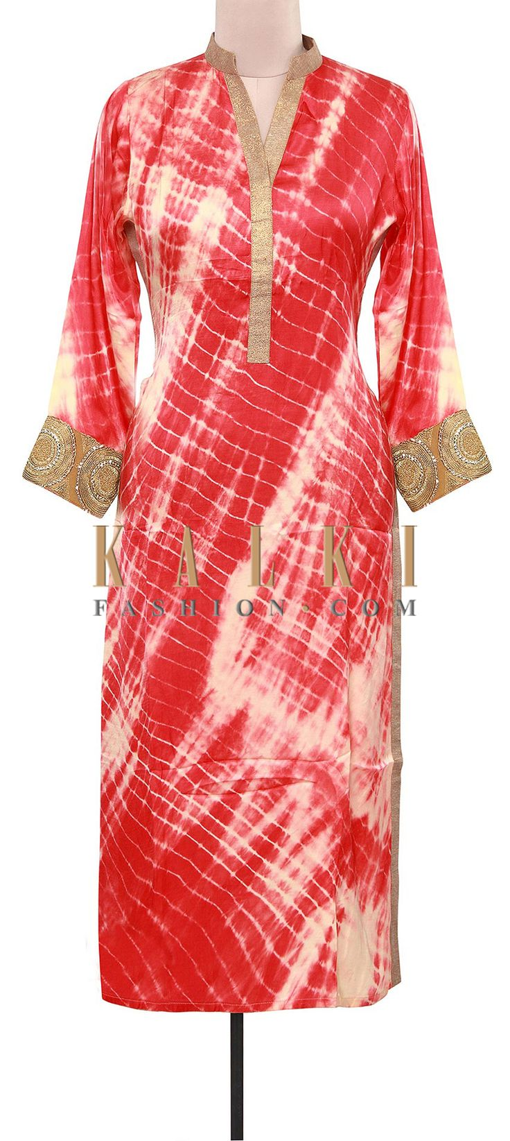 Buy Online from the link below. We ship worldwide (Free Shipping over US$100). Product SKU - 309123.Product Link - http://www.kalkifashion.com/shaded-tie-and-dye-kurti-adorn-in-mirror-placket-only-on-kalki.html