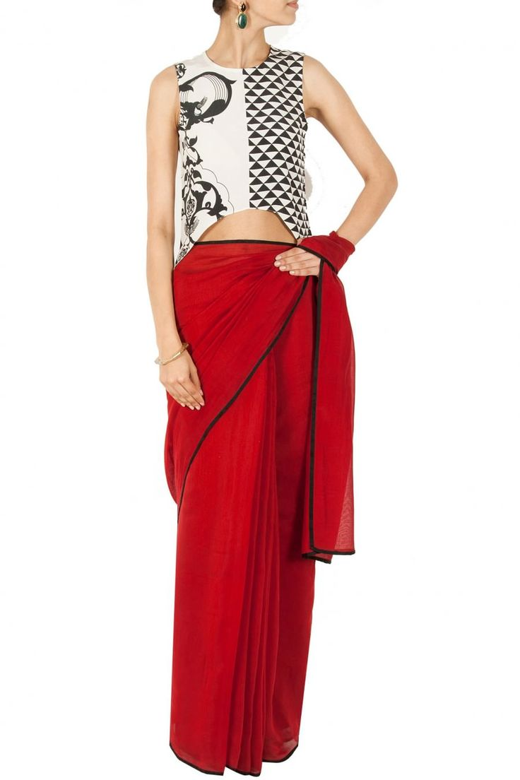 White ottoman printed asymmetrical triangle blouse designed By Payal Singhal @ Looksgud.in  #Designer #Saree #Blouse