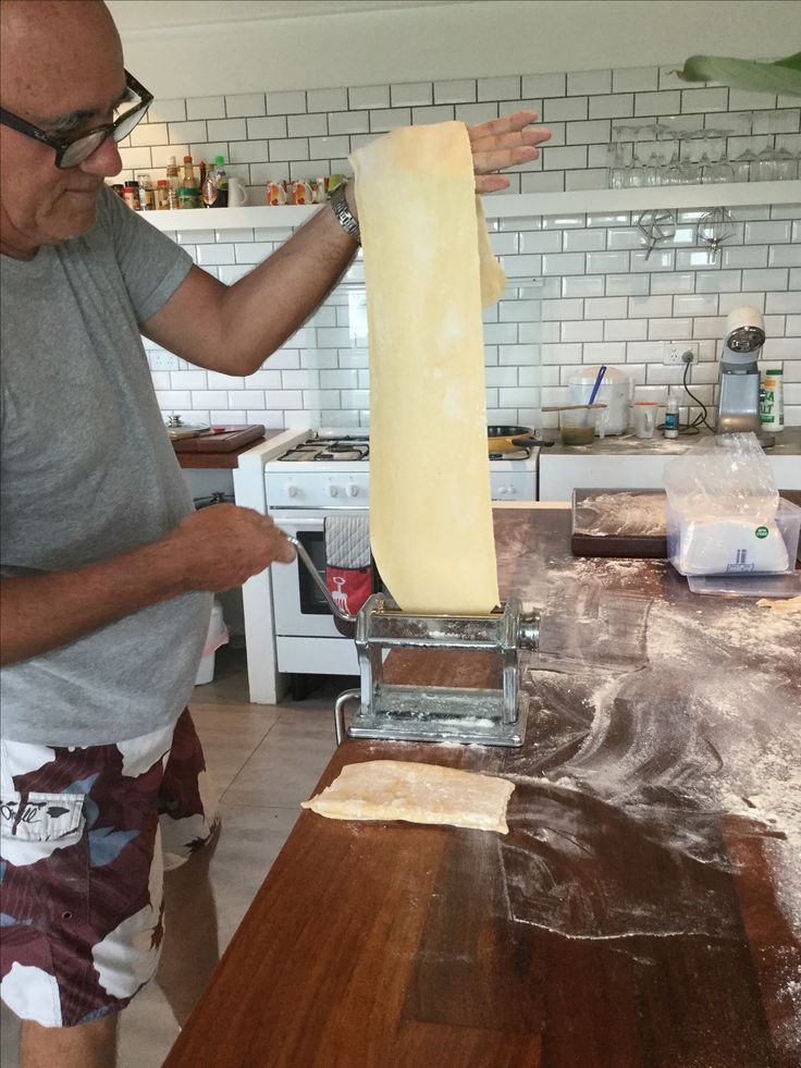 Making the Pappardelle to serve with the freshly caught lobster.