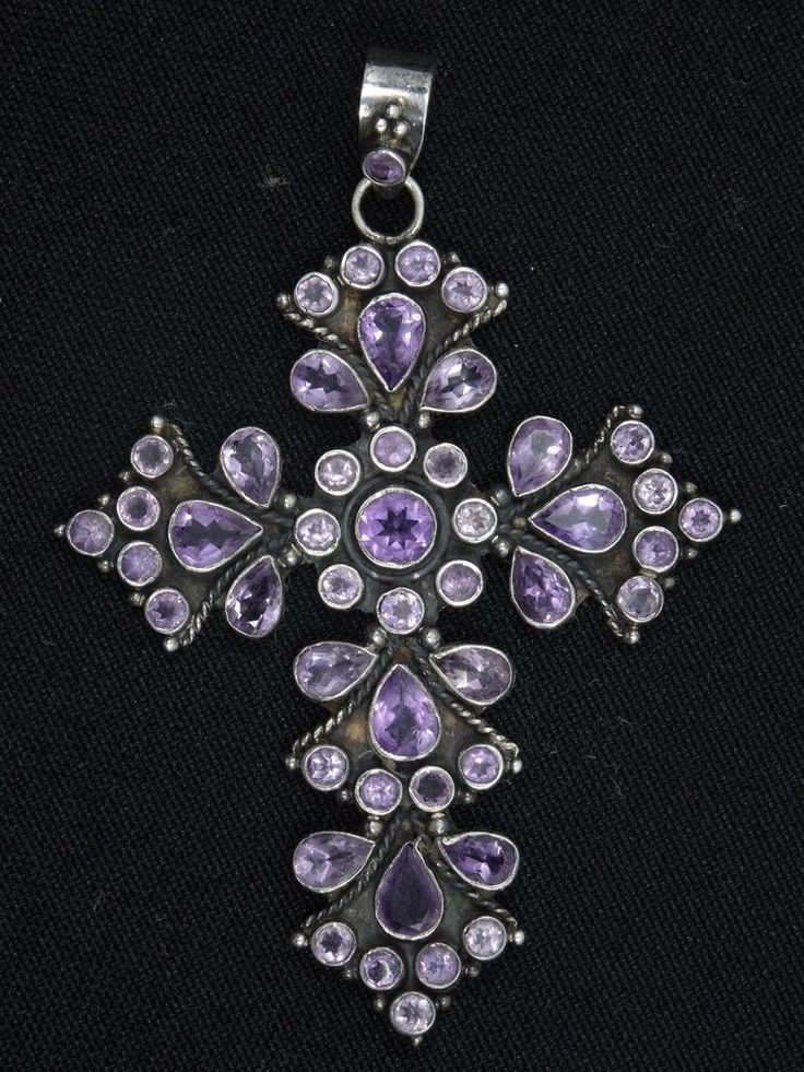"BEAUTIFUL ELABORATE AMETHYSTS STERLING CROSS PENDANT ~ 3"" #Pendant"