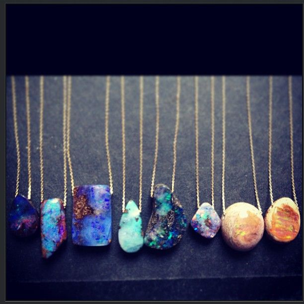 Jessica Winzelberg Jewelry Opal and 14k Yellow Gold Necklaces