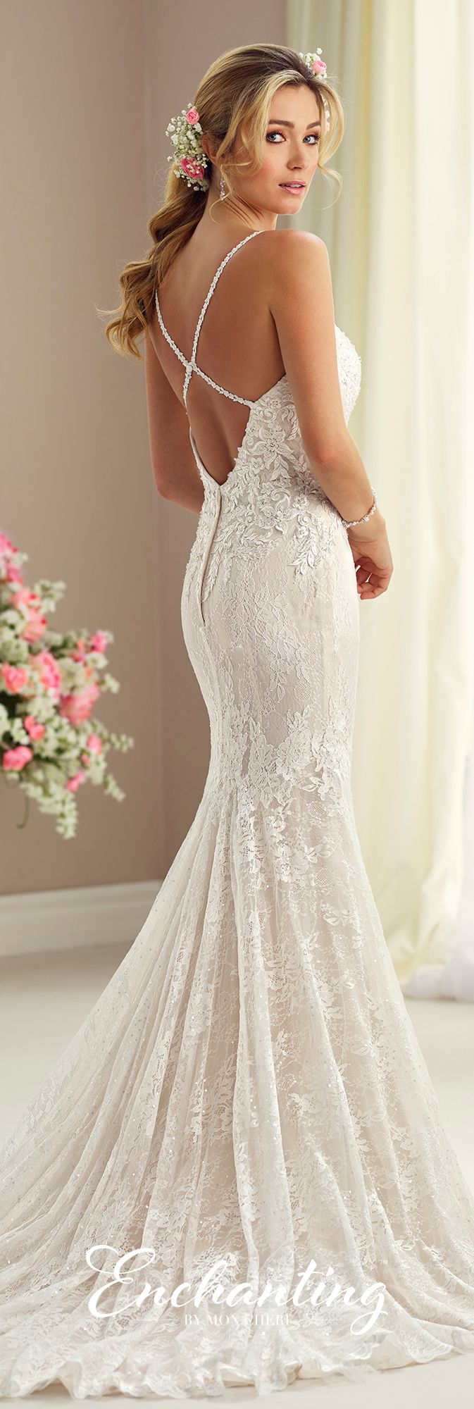 Enchanting by Mon Cheri Fall 2017 Collection - Style 217107 - sleeveless lace over chiffon fit and flare wedding dress with open back with crisscross straps