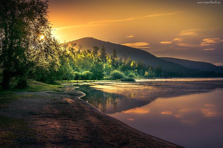 Góry, Jezioro, Zachód, Słońca, Drzewa