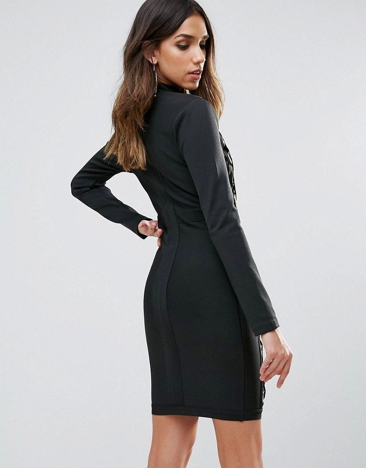 WOW Couture Oversized Laceup Detail Mini Bandage Bodycon Dress - Black
