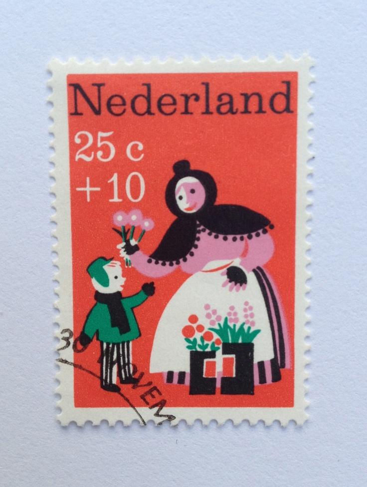 1967 | Wim Bijmoer | rood, groen, zwart | bloemen, vrouw, kind