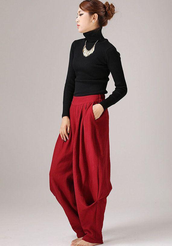 Maxi plissettato rosso pantaloni lino pantaloni di xiaolizi