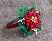 Natale a fascia, rosso fiore fascia, Natale fiore ragazza fascia, fascia poinsettia, rosso fascia, Clip di capelli di Natale, fiocco di Natale