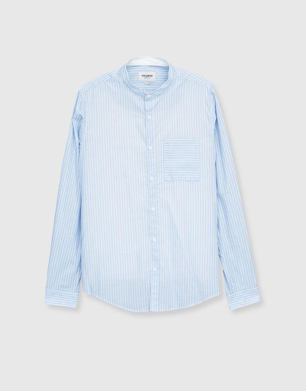 Chemise col mao rayures - Chemises - Vêtements - Homme - PULL&BEAR France