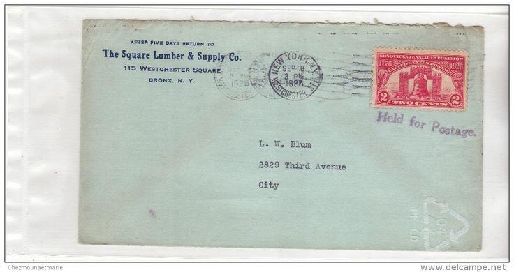 USA ETATS UNIS - NEW YORK WESTCHESTER - 1926 - GRIFFE HELD FOR POSTAGE - ENTETE SQUARE LUMBER - N° 268 SUR ENVELOPPE