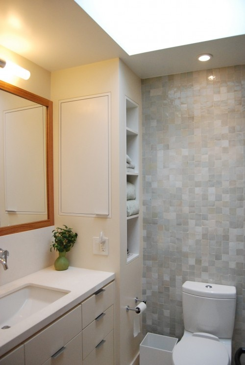 built-in cubby & recessed shallow cabinetry on other side (built within studs) #cabinets #cabinetry #bathroom