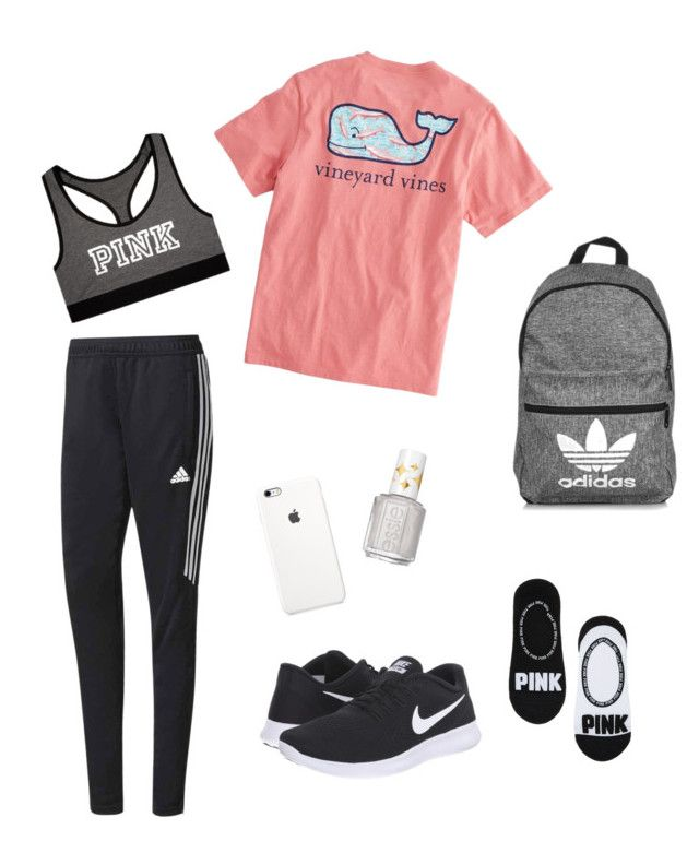 """""""School Clothes #19"""" by lily141 on Polyvore featuring adidas, NIK, Victoria's Secret, Vineyard Vines and Essie"""