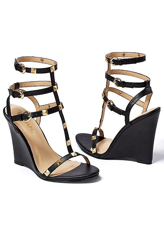 """Match these shoes with Dress:Studded Gladiator Wedge, 4"""" heel in B or W @ $39!! Printed dress in the VENUS Line of Dresses for Women"""