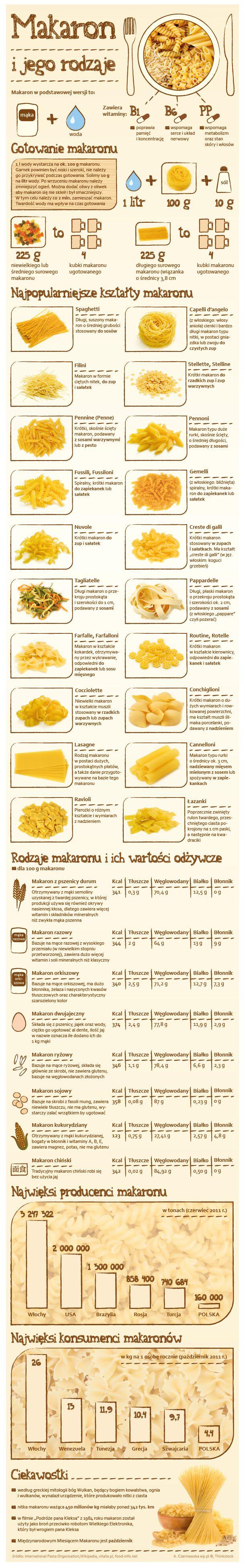 Makaron i jego rodzaje - Infografika - WP.Pl