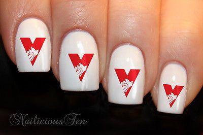 AFL Sydney Swans Nail Water Transfer Wraps 21pcs