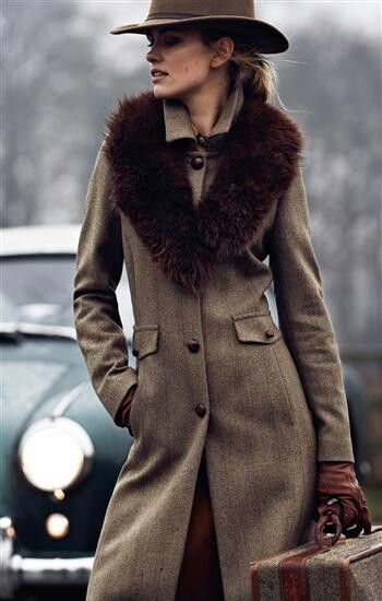 women's the look - fabulous tweed coat and fur collar Cheltenham Festival Fashion AW Millinery Furlong Fashion What to wear at the races Fashion at the races AW Trends Horse Racing Fashion Spotted at the races