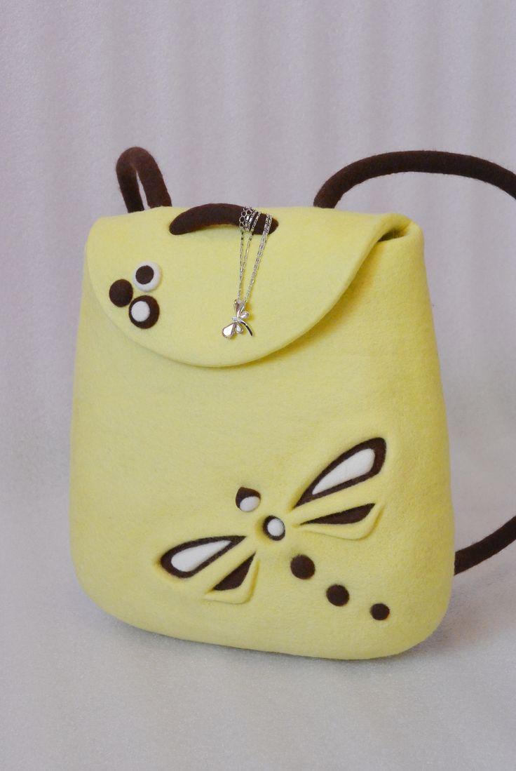 Валяный рюкзак нежного лимонного цвета со стрекозой. Весенний, солнечный и очень изящный рюкзачок! / Felted yellow rucksack with dragonfly, felt lemon backpack. Felt in fashion by #olafelt
