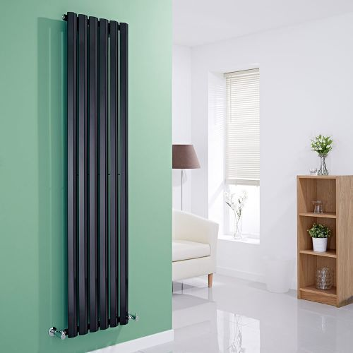 Smarten up any room in your home with the Milano Viti gloss black vertical designer radiator