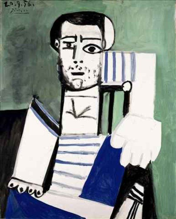 Man with the Striped Shirt - Picasso: Picasso Man, Picasso Hakon, Real Life, Sculpture Museums, My Life, Stripes Shirts, Poem, Illustrations Insp, Pablo Picasso