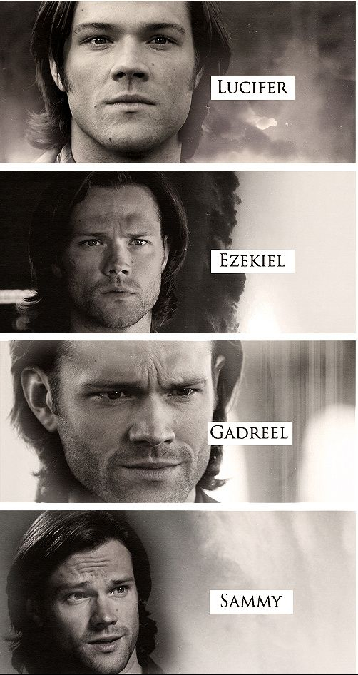 """[GIFSET] The four faces of """"Sam""""  It's amazing that he looks completely different in each of these. Mad props to Jared Padalecki for being able to bring out each character so well"""