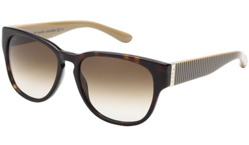 #EyewearHub: The Marc by Marc Jacobs MMJ230/S Unisex #Sunglasses is a Marc Jacobs interpretation of the classic wayfarer shape combined with a vintage keyhole bridge to polish your preppy look to perfection. These light rectangular shaped frames and gradient lenses are adorned with the Marc logo elegantly lasered onto the temple front. MMJ230/S OQECC is a Havana shell frame with beige-khaki striped temples and brown gradient lenses. #MarcJacobs