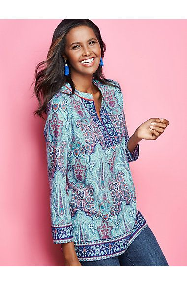 An elaborate print packs a graphic punch in this Mediterranean-inspired Mykonos Paisley tunic.