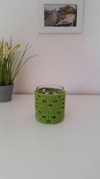 Teelichthalter - Teelichthalter mit Herz gehäkelt limone - ein Designerstück von EvE-Paris bei DaWanda