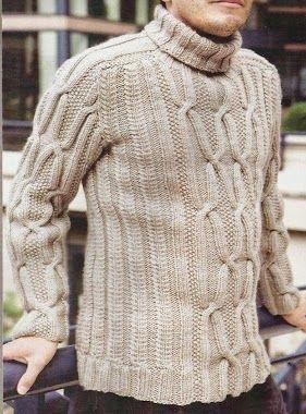 Suéter Hombre tejido a Dos Agujas -> http://esquemas.ctejidas.com/2014/07/sueter-hombre-trenzado.html