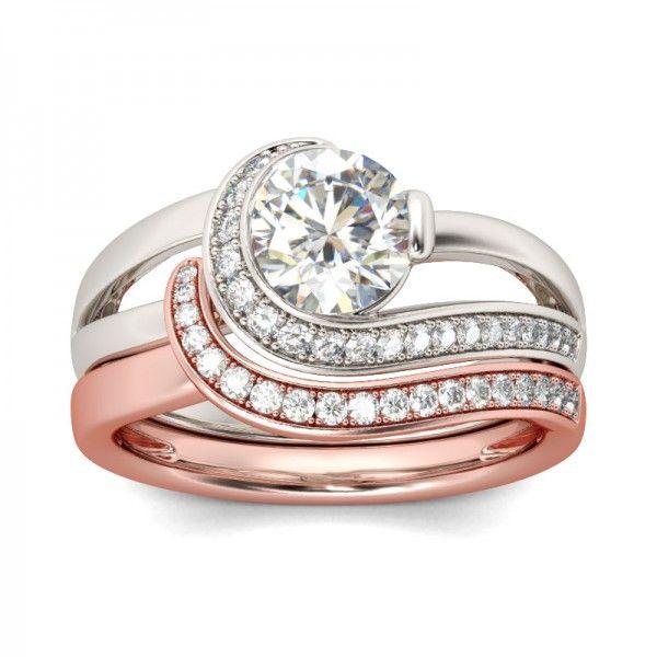 Jeulia Two Tone Round Cut Created White Sapphire Wedding Set -Jeulia Jewelry