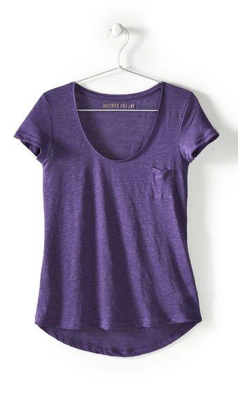 Tee shirt manches courtes uni en lin femme