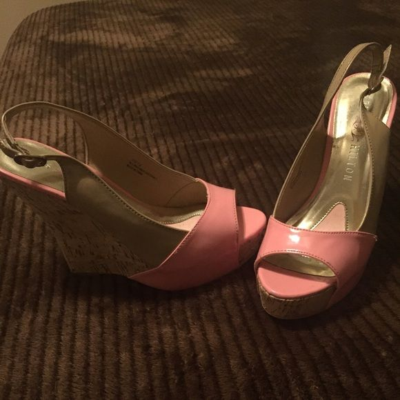Pink/beige  PAIRS HILTON wedges Nice pink/beige wedges! Worn twice, like New! Size 7.5 Jessica Simpson Shoes Wedges