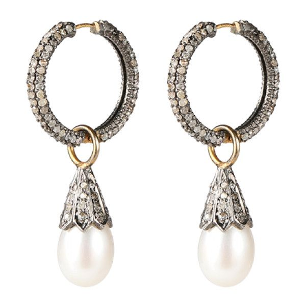PEARL HOOPS Eksklusive hoops med single-cut diamanter og... ($3,455) ❤ liked on Polyvore featuring jewelry, earrings, white pearl earrings, pearl jewellery, diamante jewelry, diamante earrings and hoop earrings