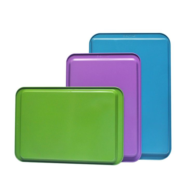 casaWare 3pc Ceramic Coated Multi-Color and Size Cookie Sheet / Jelly Roll Pan Set