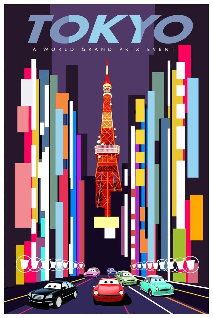 Movie photos retro concept world grand prix poster japan 2011 disney