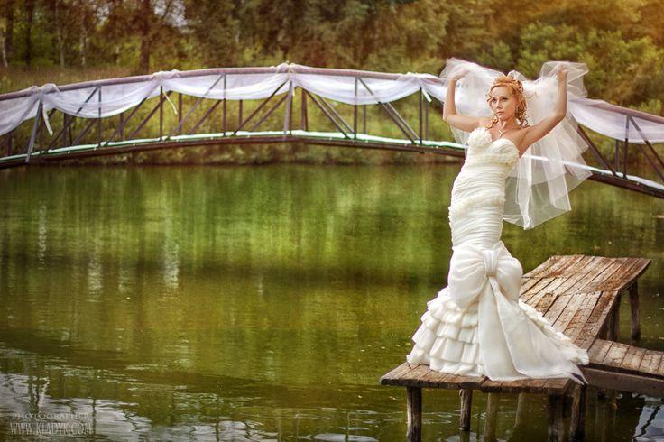 невеста, фата, озеро, причал