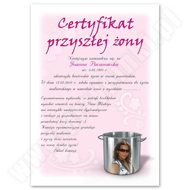 Certyfikat przyszłej żony