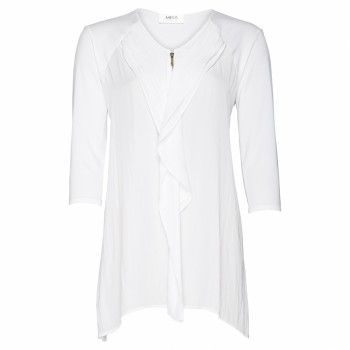 Mela Purdie Wave Zip Top Easy elegance sums up the beauty of the Wave Zip Top. Featured with a soft frilled mousseline front and spliced jersey back this blouse looks best styled with a slim straight pant for a relaxed day look.