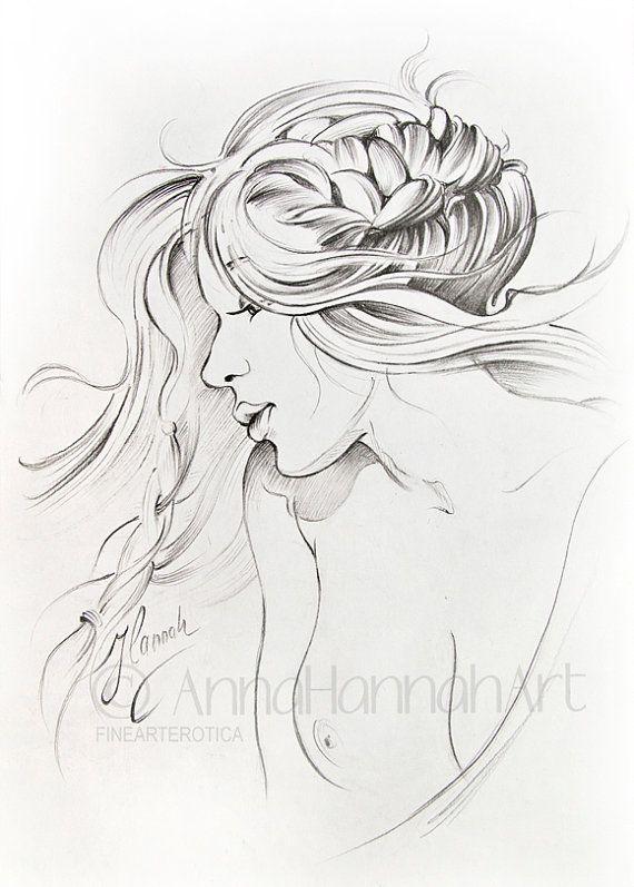"""""""Kiss of Wind"""" -pencil drawing by Anna Miarczynska"""