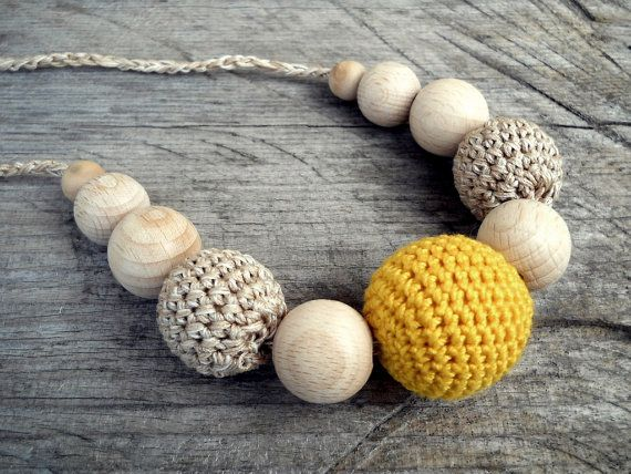 Natural Orange Crochet Teething Necklace Nursing Necklace Breastfeeding Necklace Wood Beads