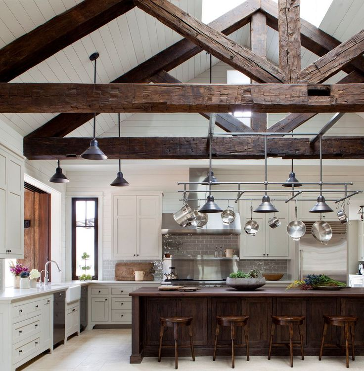 Large, light-filled kitchen with vaulted ceiling and exposed beams in this home in Texas. [970 × 990] - Imgur