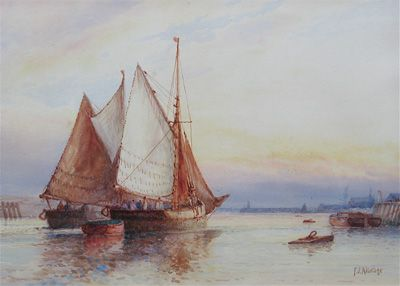 Light Airs - Frederick James Aldridge FJ original signed oil paintings and watercolours -  Robert Perera Fine Art Gallery of Lymington