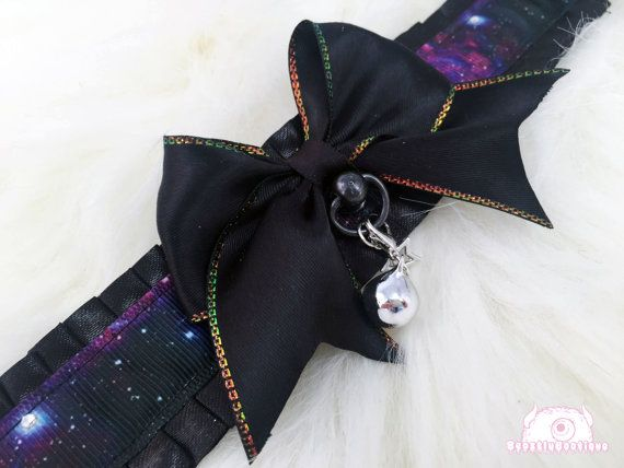 Galaxy Themed Kitten Collar, Kitten Play Collar, Pet Play Collar, Choker, Adult Kitten Play Collar, BDSM Collar