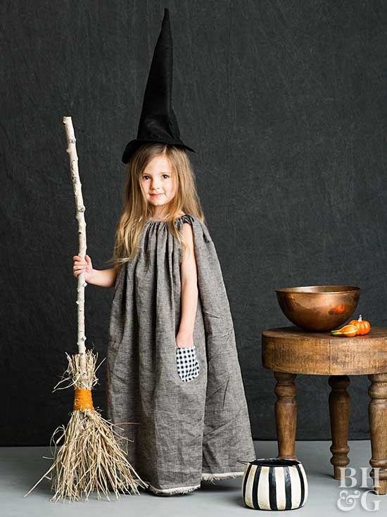 Come trick-or-treat time, the neighbors will think you spent hours hand-sewing this adorable hat and dress.