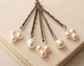 Perlas de Marfil brote pelo perla Pin Clip por jewellerymadebyme