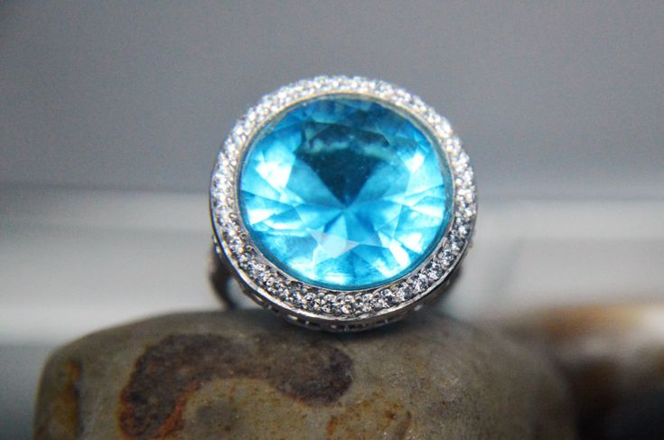 Sky Blue AAAAA grade Cubic zirconia 925 sterling silver statement ring by IsaBellaJewellery on Etsy