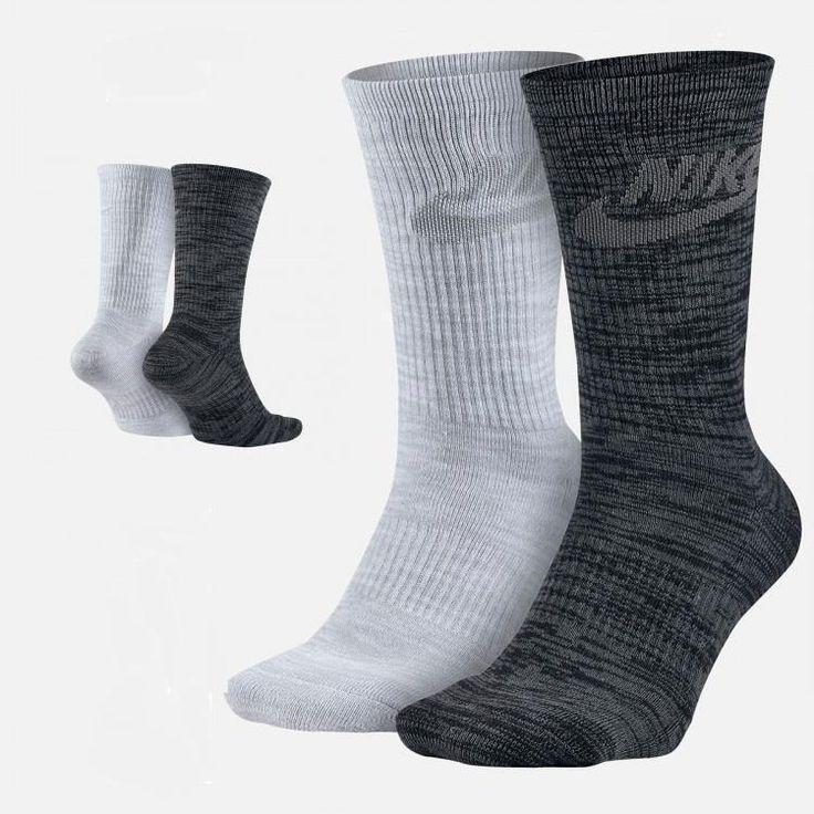 Nike Mens 2 Pack Sportswear Advance Black Gray Crew Socks SZ 10-13 M SX5403