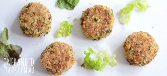 Crumbed tuna and vegetable patties - perfect served hot or cold and full of nutritional goodness #onehandedcooks