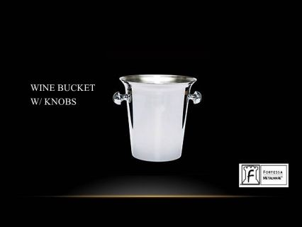 "Made from stainless steel  Wine bucket with knobs 9"" (H) 8.5""(W)  Product Code 2.5.003.00.325  SHIPPING IN CANADA ONLY!"